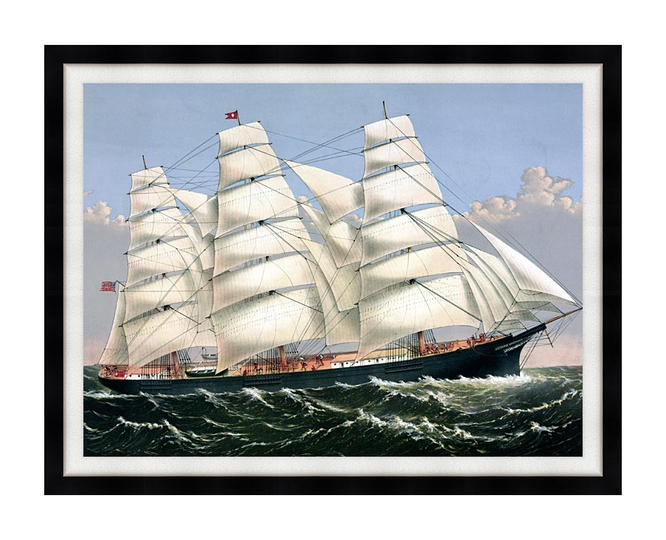 Currier and Ives Clipper Ship Three Brothers with Modern Black Frame