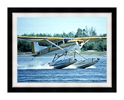 U S Fish And Wildlife Service Float Plane In Water canvas with modern black frame