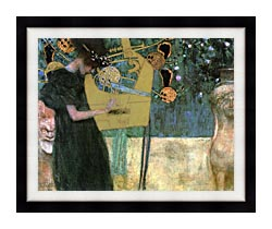 Gustav Klimt Music I canvas with modern black frame