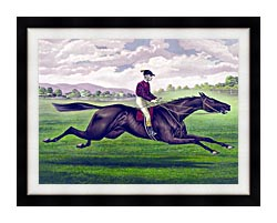 Currier And Ives Parole Horse Racing canvas with modern black frame