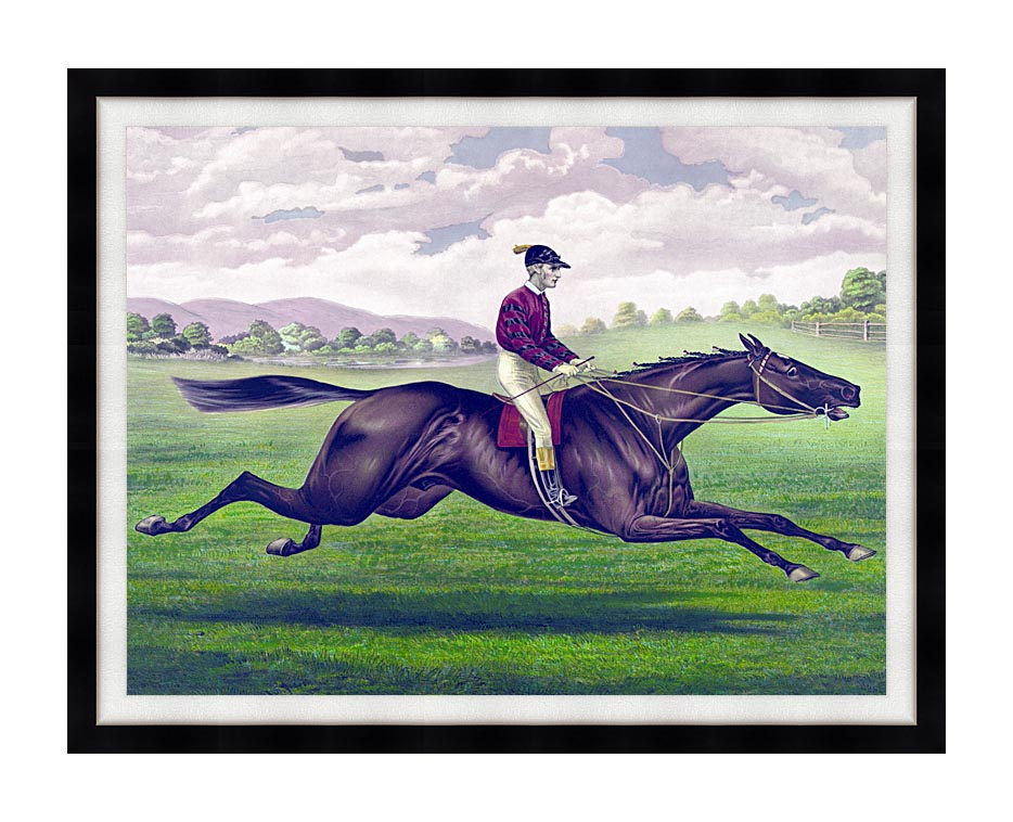 Currier and Ives Parole Horse Racing with Modern Black Frame