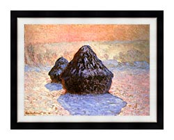 Claude Monet Haystacks Snow Effect Winter canvas with modern black frame