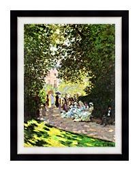 Claude Monet Parisians Enjoying The Parc Monceau Paris canvas with modern black frame