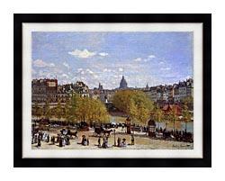 Claude Monet Quai Du Louvre Paris canvas with modern black frame