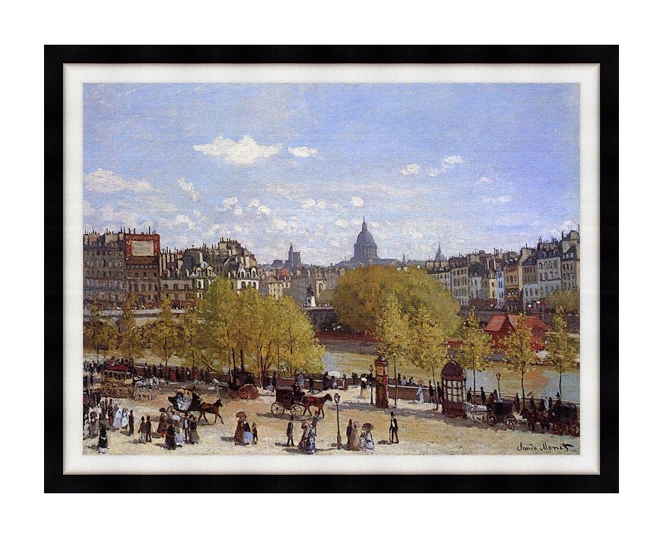 Claude Monet Quai du Louvre, Paris with Modern Black Frame