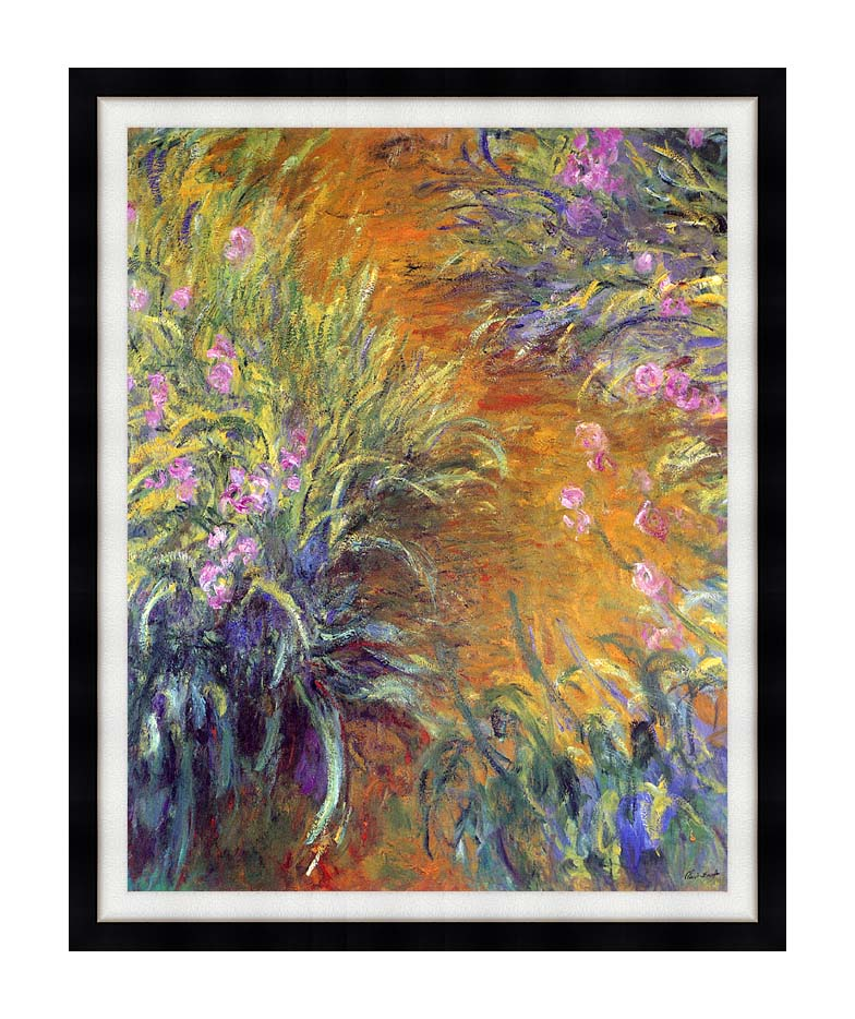 Claude Monet The Path Through the Irises with Modern Black Frame