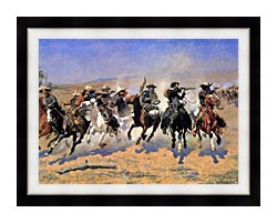 Frederic Remington A Dash For The Timber Detail canvas with modern black frame