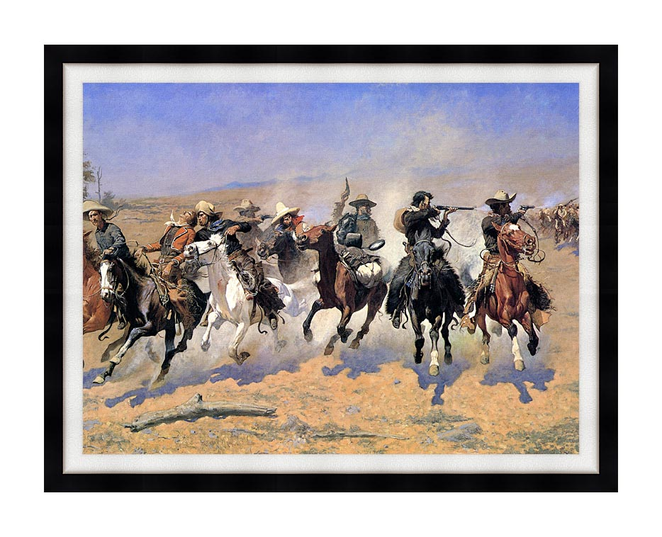 Frederic Remington A Dash For The Timber (detail) with Modern Black Frame