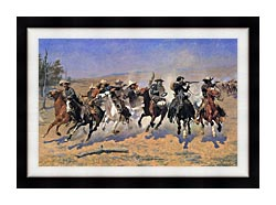 Frederic Remington A Dash For The Timber canvas with modern black frame