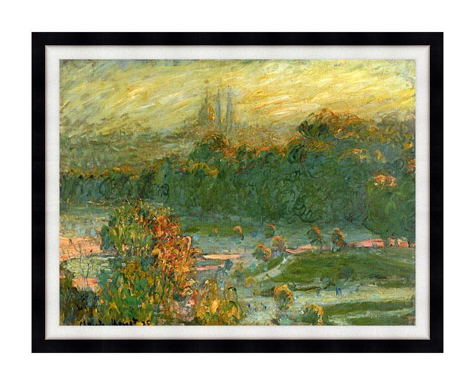 Claude Monet The Tuileries (study) with Modern Black Frame
