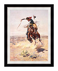 Charles Russell A Bad Hoss canvas with modern black frame