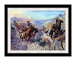 Charles Russell A Mix Up canvas with modern black frame