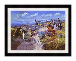 Charles Russell A Tight Dally And Loose Latigo canvas with modern black frame