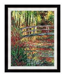 Claude Monet Water Garden And Japanese Footbridge canvas with modern black frame