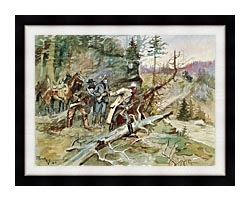 Charles Russell Big Nose George And The Road Agents canvas with modern black frame