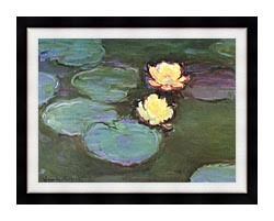 Claude Monet Green Water Lilies canvas with modern black frame