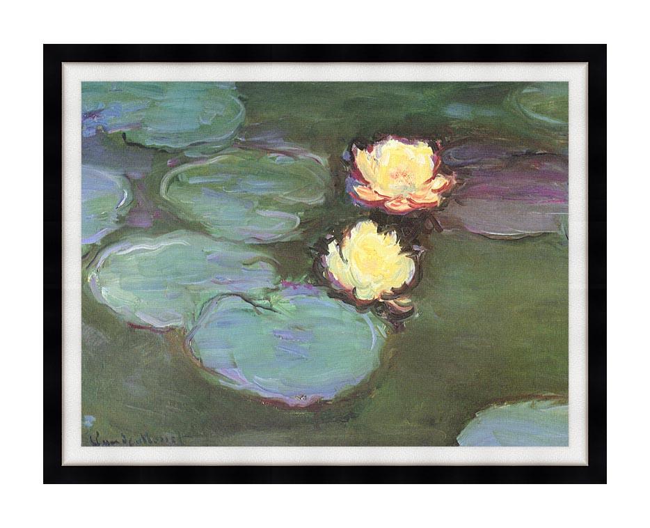 Claude Monet Green Water Lilies with Modern Black Frame