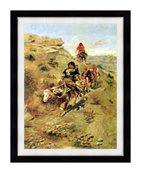 Charles Russell Bringing Home The Meat canvas with modern black frame