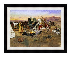 Charles Russell Bronc In Cow Camp canvas with modern black frame
