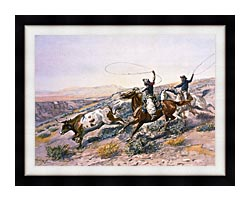 Charles Russell Buccaroos canvas with modern black frame