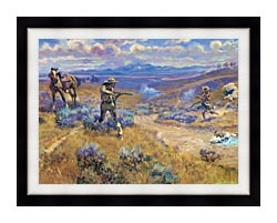 Charles Russell Buffalo Bills Duel With Yellowhand canvas with modern black frame