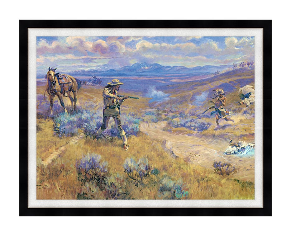 Charles Russell Buffalo Bill's Duel with Yellowhand with Modern Black Frame