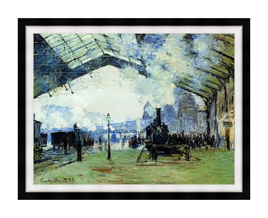 Claude Monet Arrival of the Normandy Train with Modern Black Frame