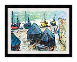 Claude Monet Boats In Winter Quarters canvas with modern black frame