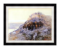Charles Russell Buffalo Herd At Bay canvas with modern black frame