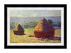 Claude Monet Haystacks canvas with modern black frame