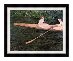 Claude Monet In A Canoe On The Epte River canvas with modern black frame