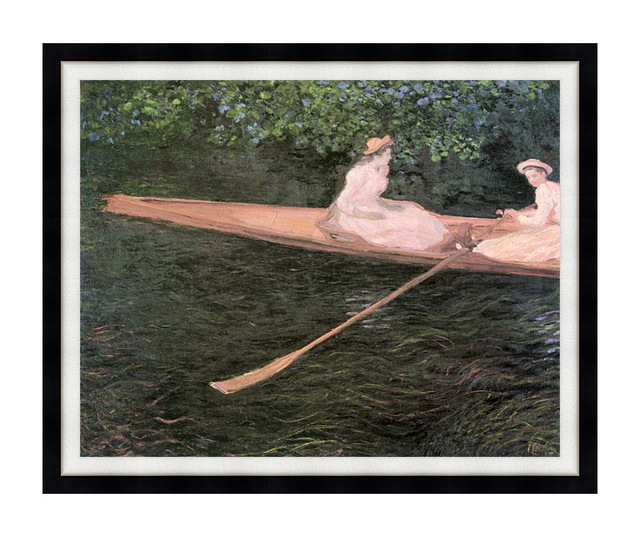 Claude Monet In a Canoe on the Epte River with Modern Black Frame