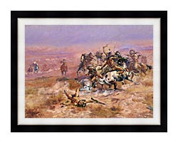 Charles Russell Counting Coup canvas with modern black frame