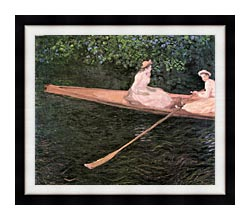 Claude Monet A Canoe On The Epte River canvas with modern black frame