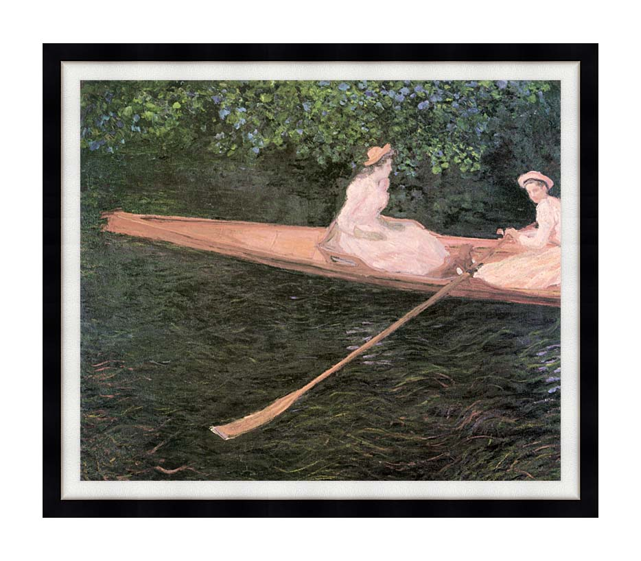 Claude Monet A Canoe on the Epte River with Modern Black Frame