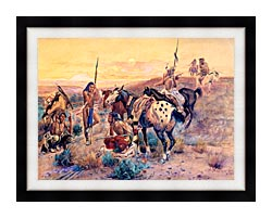 Charles Russell First Wagon Tracks canvas with modern black frame
