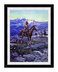 Charles Russell Free Trappers canvas with modern black frame