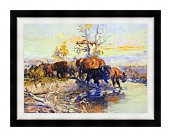 Charles Russell His Heart Sleeps canvas with modern black frame