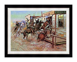 Charles Russell In Without Knocking canvas with modern black frame