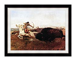 Charles Russell Indians Hunting Buffalo canvas with modern black frame