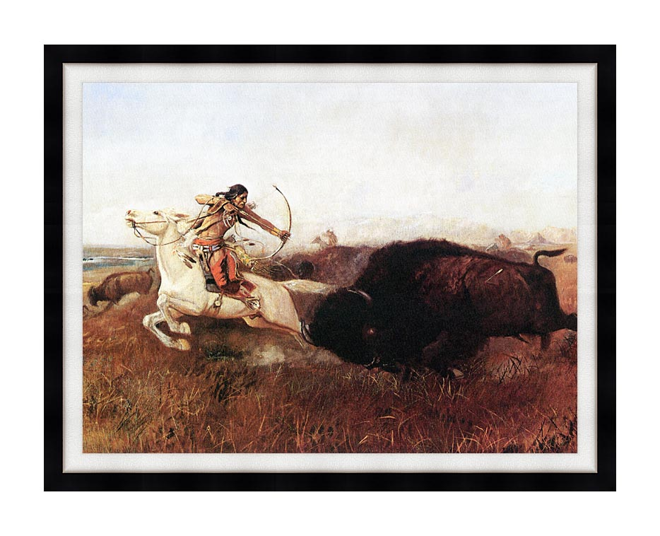 Charles Russell Indians Hunting Buffalo with Modern Black Frame