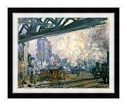 Claude Monet Outside View Of The Normandy Line canvas with modern black frame