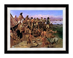 Charles Russell Lewis And Clark Expedition Meeting With Indians canvas with modern black frame