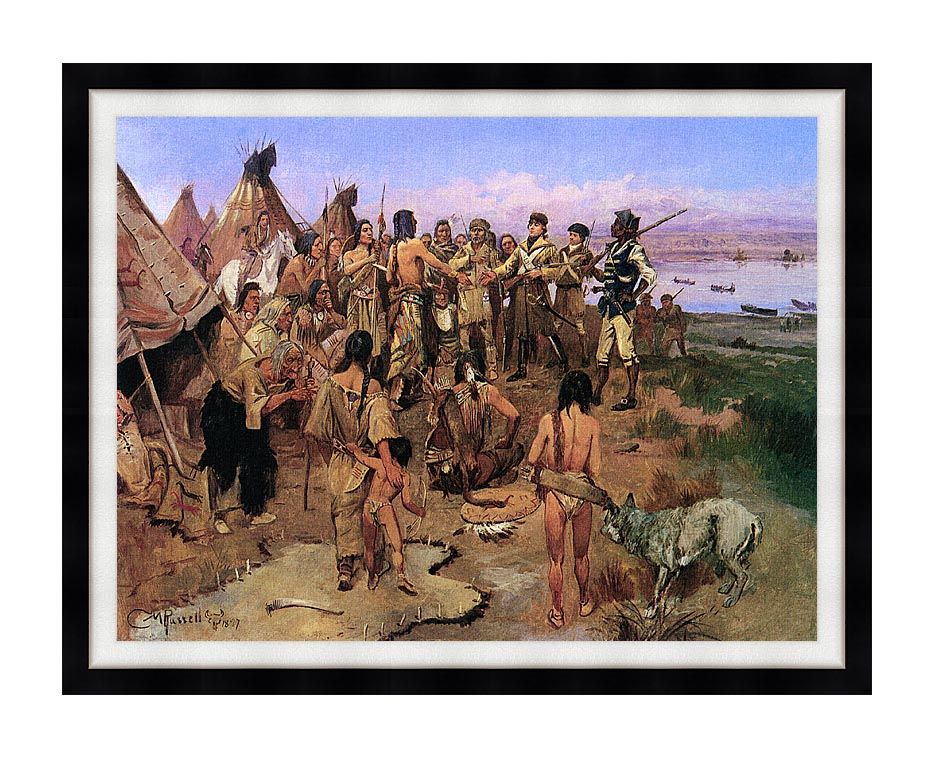 Charles Russell Lewis and Clark Expedition Meeting with Indians with Modern Black Frame