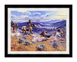 Charles Russell Loops And Swift Horses Are Surer Than Lead canvas with modern black frame