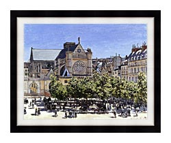 Claude Monet Saint Germain Lauxerrois canvas with modern black frame