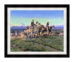 Charles Russell Men Of The Open Range Detail canvas with modern black frame