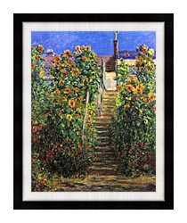 Claude Monet Steps At Vetheuil canvas with modern black frame