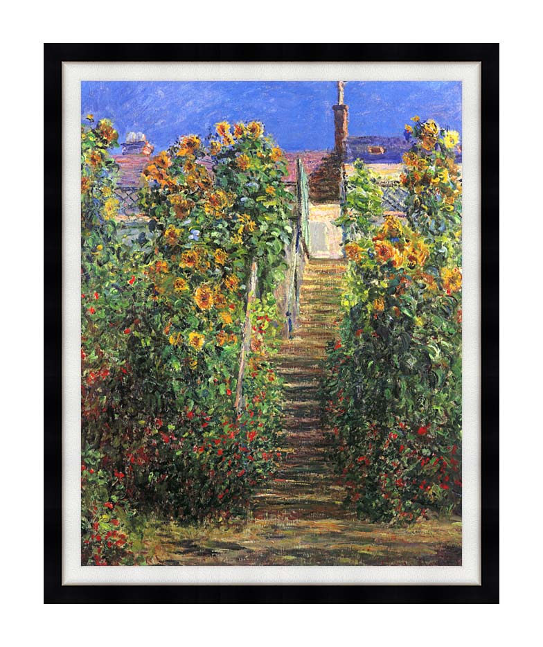 Claude Monet Steps at Vetheuil with Modern Black Frame