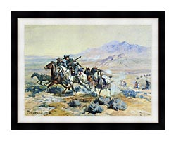 Charles Russell On The Attack canvas with modern black frame